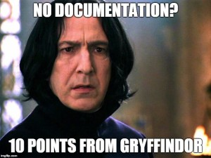 Snape with the caption, No Documentation? 10 Points from Gryffindor